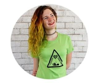 Caustic Threads Logo Tshirt, Hand Screenprinted, Short Sleeve Bright Apple Green, Women's Clothing, Cotton Crewneck Shirt Ladies Graphic Tee