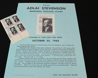 US Postage Stamp Scott No 1275~Adlai Stevenson 4 Plate Block With Original Poster Issued 1965 MNH