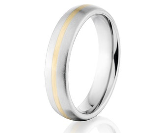 Half Round Style w/14k Inlay and a Brush Finish Cobalt Chrome Ring:Cobalt-6HR11G-B-14k-Gold