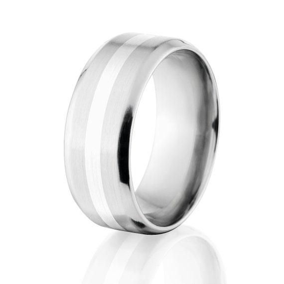 New Comfort Fit Band, 9mm Titanium Ring, Sterling Silver Inlay Jewelry, Free Sizing 4-17: 9B12GBR-SSINLAY