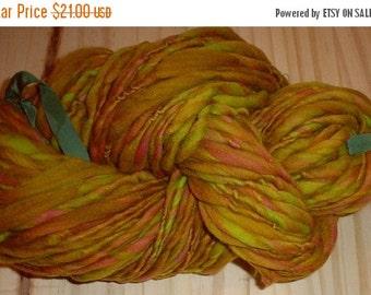 SALE - Handspun Superwash Targhee Wool Yarn Art Yarn - Carmel Candy - 90 Yards