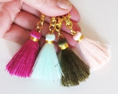 Small Tassel Keychain,Purse Charm,Silk Tassel,Keyring Gift Idea,Zipper Clip,Bag Accessory,Silk Tassel Charm,Gift to Her,Mint Tassel Gift