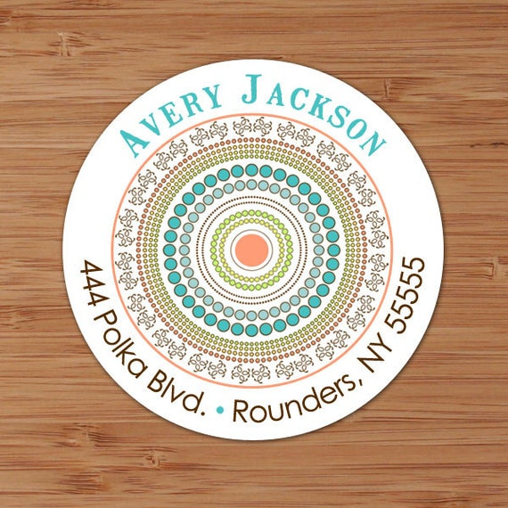 Round and Round (Mod Dots) Custom Address Labels or Stickers