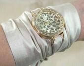 Scarf Wrap Quartz Wrist Watch, Leopard Print Watch Face, Statement Watch, Silk Wrap Around Bracelet Watch