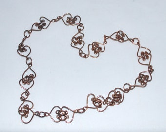 Copper Necklace Hearts