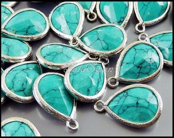 2 pcs unique green turquoise synthetic stone pendants, turquoise stone with silver bezel, charms 5073R-GT (silver)