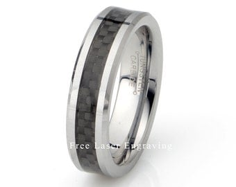 Black Carbon Ring, Mens Wedding Ring, Tungsten Ring, Polished Beveled Edge, Anniversary Ring, Tungsten Band, Personalized 6mm Tungsten Ring