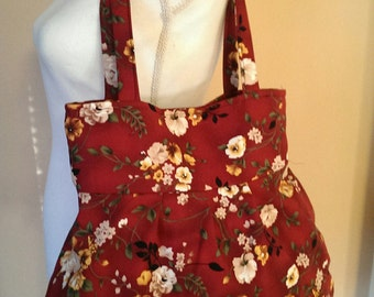 Handmade hobo bag purse shoulder bag- floral  print on Burgundy background
