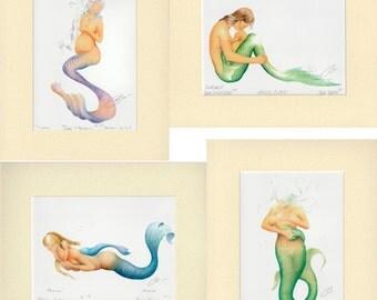 4 pc Pregnant Mermaid Mother Nursing Art Signed Robert Kline 5 x 7 Matted Prints Baby Shower Maternity Gift Nautical Beach Home Office Decor