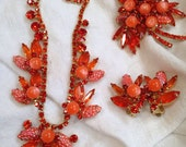 Juliana Necklace, Brooch and Earrings Orange Coral Moonglow and Corn Kernel Molded Glass