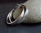 Sterling silver hoop earrings, silver hoops, post hoops, leaf vein pattern, metalwork jewelry, antique silver finish, oxidized earrings