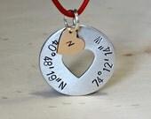 Latitude longitude necklace with monogram heart charm - NL072