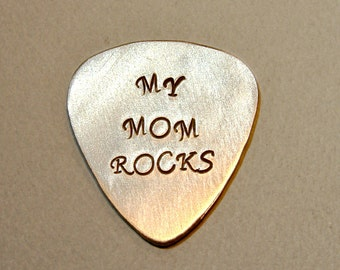 Guitar Pick for a Rocking Mom Handmade from Aluminum - GP407