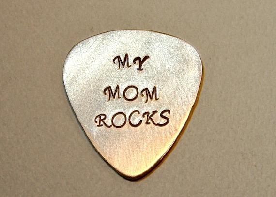 Guitar Pick for a Rocking Mom Handmade from Aluminum - GP407