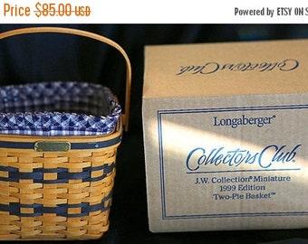 Lovely Longaberger Miniature 2 Pie Basket Set--HARD FIND--Vintage  15% off all 40 dollar and under vintage listings