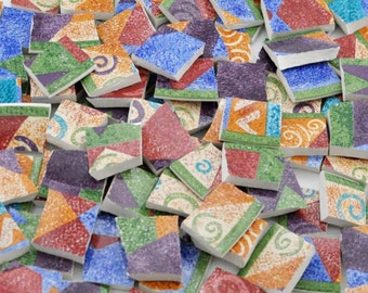 Mosaic Tiles - Colorful Abstract - Geometric - Swirls - Multi Color - Set of 120 Tiles