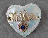Vintage Mother Heart Shaped Mother of Pearl Gold Wire Brooch with Blue Rhinestone