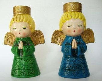 2 Angel Candleholders Vintage 1950s Japan Christmas mid century hand painted