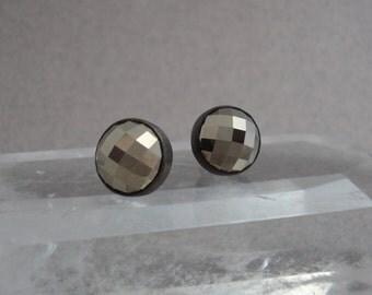 Round Checkerboard Cut Pyrite Earrings in Darkened Sterling Silver, Sparkly Post Earrings