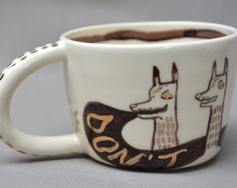 Don't Cry Wolf Or Else handmade hand painted black and gold on white ceramic art mug