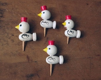 1960s Japan Wooden Duck Candle Holders Cupcake Toppers - Birthday Candle Holders - Cake Picks
