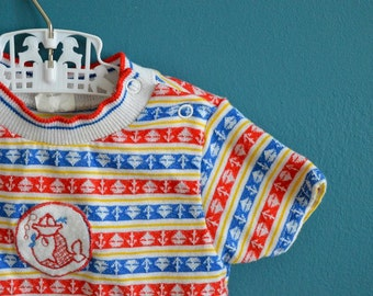 Vintage Baby's Nautical Shirt with Fish Applique - Size 12-18 Months