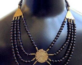 Fall into Vintage SALE Stunning Egyptian Revival Boho Brass Glass Bib Vintage Necklace