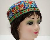 Traditional Uzbek, Turkmen, Afghan, hat, cap, silk handmade embroidery, skullcap, header, bonnet, Asian, woman, suzani hat, embroidered