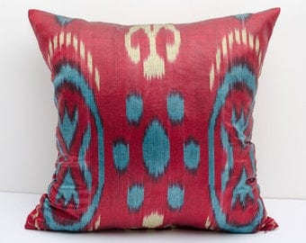 14x14 red blue cream ikat pillow cover, cushion case, ikat, red ikat pillow cover,  eco textile, handmade ikat, red, blue, cream
