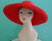 SALE 20% OFF coupon code FALLFORWARD16 ~ vintage red large brim sun hat