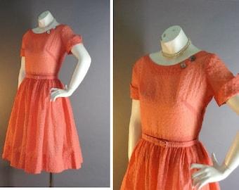 50s dress 1950s vintage CORAL SALMON SHEER nylon plissé pink orange full skirt dress
