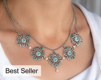 Floral statement necklace, Statement necklace, Floral necklace, Blue statement necklace, Blue necklace, Blue bib necklace, Bib necklace
