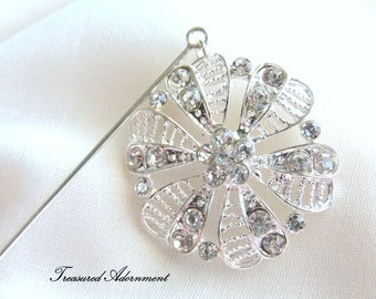 Hijab pin, Rhinestone Flower Dangle Hijab pin, Heart petal Filigree, Shawl pin, Scarf pin, Wedding, Bridal Hijab, Bridesmaids gift, Eid Gift