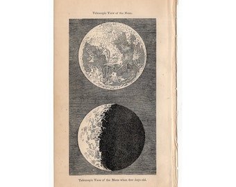 1850 ANTIQUE MOON ENGRAVING original antique celestial astronomy print - telescopic view of the moon - earth satellite