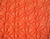 "Halloween Fall Festival Fluffy Bright Pumpkin Orange Hofmann Daisy Vintage Chenille Bedspread Fabric 21"" x 29"""