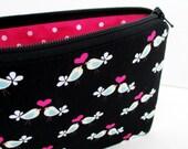 Love Birds Zipper Pouch, Hot Pink and Black, Small Zippered Coin Purse Bag