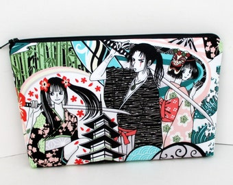 Zippered Make Up Bag, Anime Blade, Cosmetic Pouch, Japanese Sword Geisha