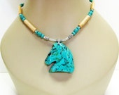 RESERVED for Daphne 40% off Turquoise Horse Necklace - Run Like The Wind - Southwest Design Necklace - Turquoise Necklace - Unisex Necklac