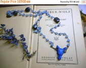 Wolf In Sheep's Clothing XVii. Carved Blue Lapis Wolf Head Pendant Blue Quartz & Sodalite Rosary Necklace Occult Goth Edgy ooak handmade