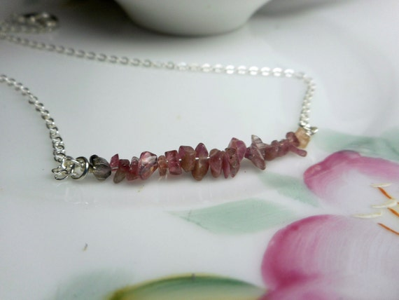 The Tea Rose Tourmaline Necklace. Pink Tourmaline Wired Dainty Everyday Necklace.
