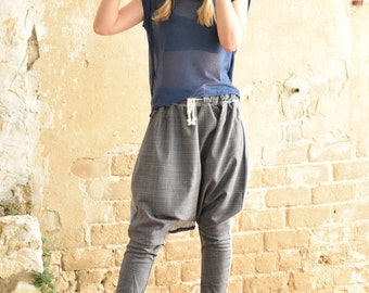 New Collection 2016! Grey checkred  wool Harem pants, loose pants, tying pants