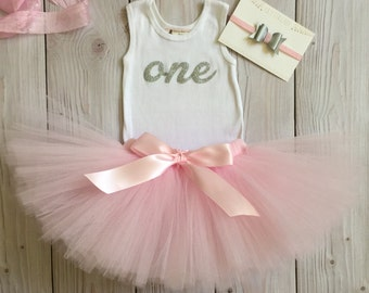 Pink 1st Birthday Dress | Pink Tutu Outfit | Pink and Silver Tutu