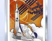 Science Poster Art Print International Space Station - Orion - Stellar Science Series - Wall Art
