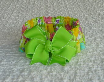 "Easter Eggs on Lime Green Dog Scrunchie Collar - big lime green bow - L: 16"" to 18"" neck"