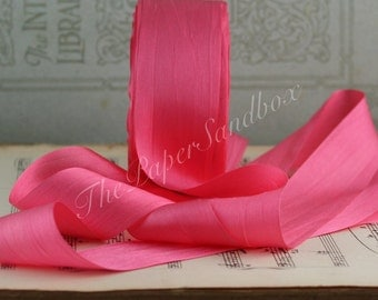 "Salmon Silk Ribbon, Coral Pink Silk Ribbon, 1.25"" wide, Tropical Wedding, Beach Wedding, Gift Wrapping, Pink Silk Trim, Bouquets, Sewing"