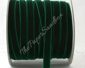 """Green Velvet Ribbon, 3/8""""wide Ribbon by the yard, Weddings, Crafts, Gift Wrapping, Christmas Ribbon, Costumes, Velvet Trim, Party Supplies"""