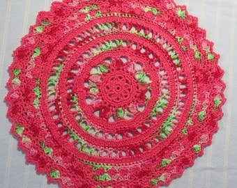 Coral Doily-9.5 inch Doily-Variegated Salmon/Lime Green Doily-Hand Crocheted Egyptian Cotton Doily-Cindy's Loft