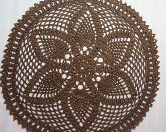 Brown Doily-11.25 inches-Pineapple Doily-Hand Crocheted Cotton Doily-Cindy's Loft