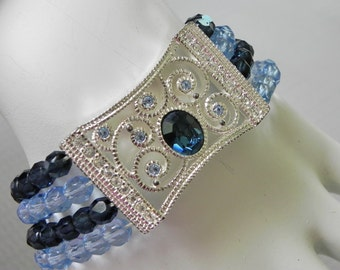 Vintage Napier Bracelet with Blue Glass Beads and Edwardian Style Center Piece.