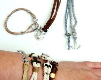 Anchor bracelet Nautical sailor Knot Rope Bracelet, Silver Anchor Bracelet for men,